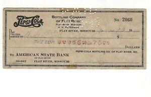 1946 Pepsi Cola Bottling Check Flat River Missouri, Farmington MO, St Francois