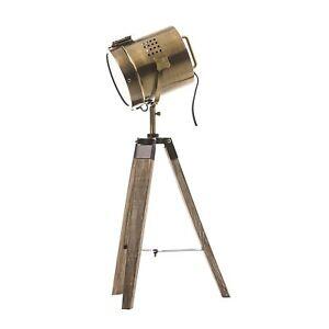 Lampe-projecteur-design-vintage-et-retro-en-metal-style-cuivre-trepied-en-bois