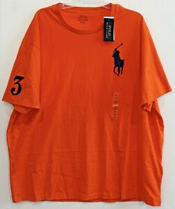 Polo-Ralph-Lauren-Big-amp-Tall-Mens-Orange-Blue-Big-Pony-Crewneck-T-Shirt-NWT-2XB