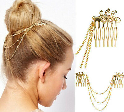 Tassel Leaf Womens Fashion Gold Metal Comb Cuff Chain Jewelry Headband Hair Band