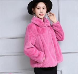 Jakke Parka Hot Faux Kort Rabbit Farve Women Vinter Outwear Frakker Fur Chic 4 zCrxCAqwY