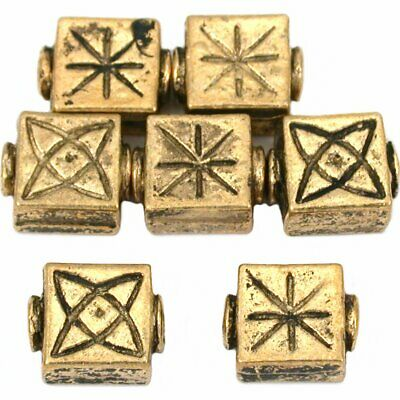 15g Fluted Square Beads Antq Gold Plated 10mm Approx 7