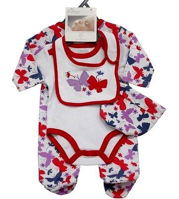 Baby Strampler Set Erstausstattung Strampler Body Latz Mütze Schmetterlinge