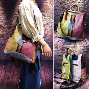 2-Way-Multicolor-Vintage-Patch-Brushed-Real-Leather-Backpack-Purse-Shoulder-Bag