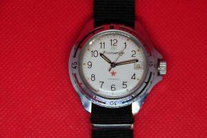 Vintage-Zakaz-MO-USSR-VOSTOK-KOMANDIRSKIE-Militaer-Sowjetische-Armbanduhr-weisses-Zifferblatt-2414a