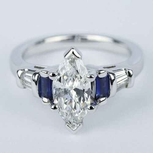 Marquise Off White Genuine Moissanite 3.Ct Engagement Ring 925 Sterling Silver