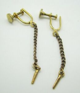 e24b6676d8c2c Details about Vintage GOLD TONE SCREWBACK EARRINGS Spike Dangle CHAIN DROP  Thin UNUSUAL