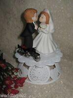 Wedding Party Reception ~Motorcycle Biker~ Cake Topper Kissing Bride & Groom