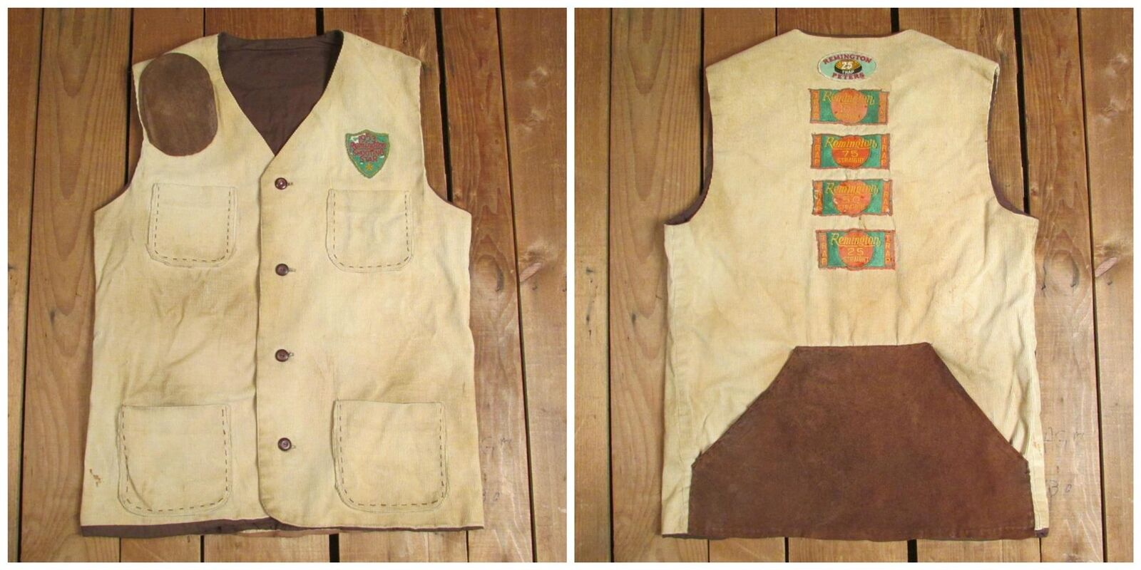 Vintage 1950s Trap Shooting Corduroy Leather Vest Remington Award Patches Peters