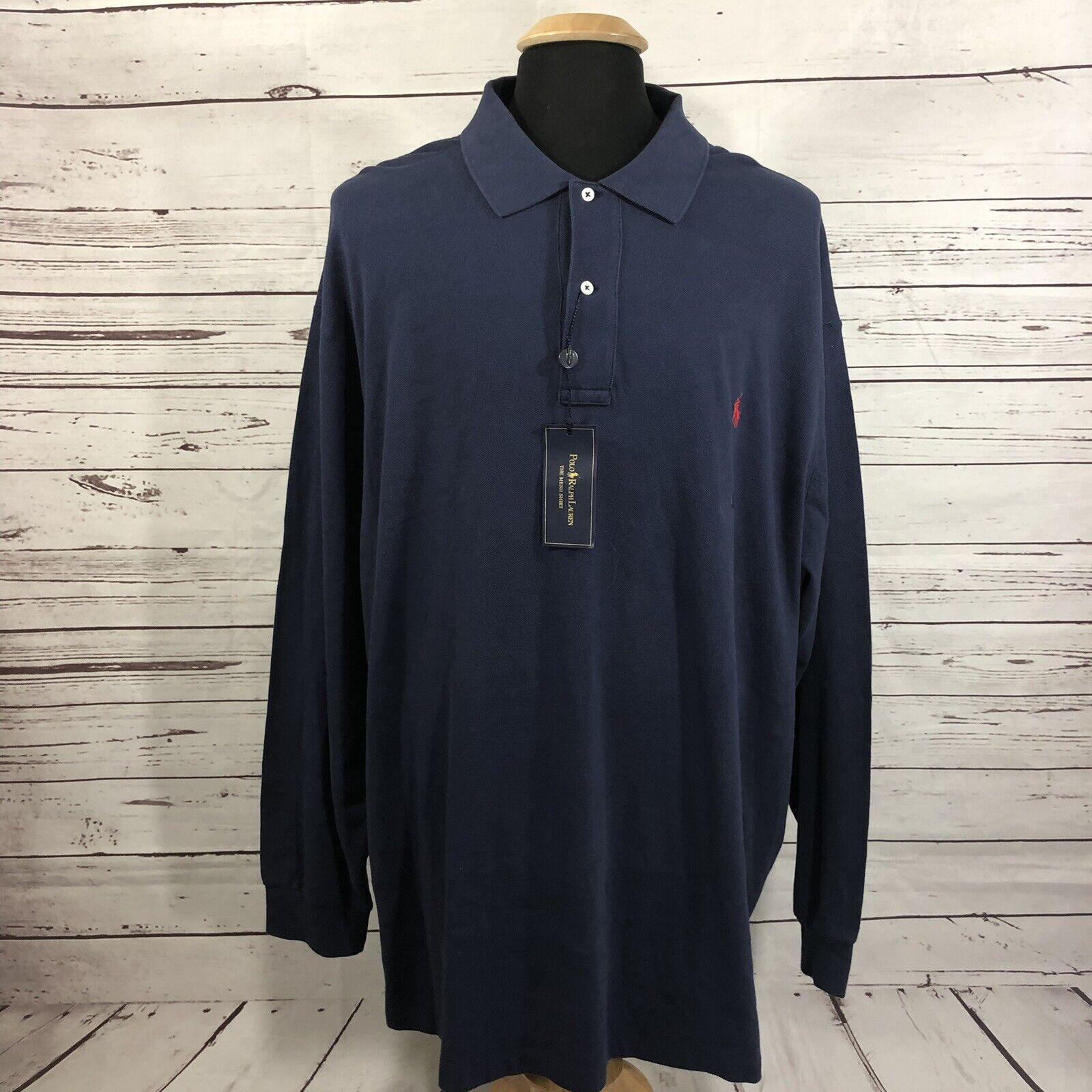 NWT Polo Ralph Lauren Navy bluee L S Polo Shirt Pony 100% Cotton Men's 4XB Big