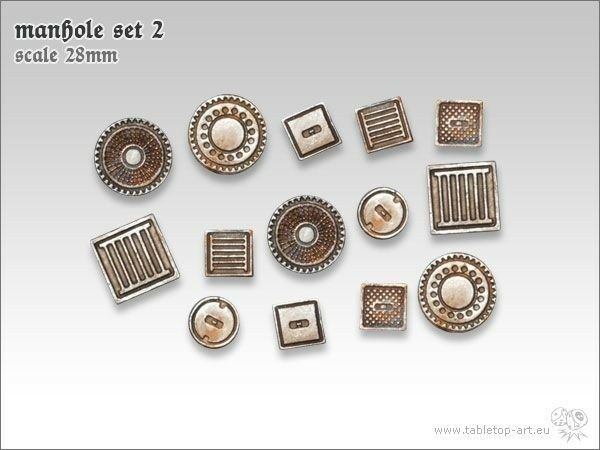 Manhole Cover Set 2 (14) Tabletop Type Base Design Terrain Channel Sewer