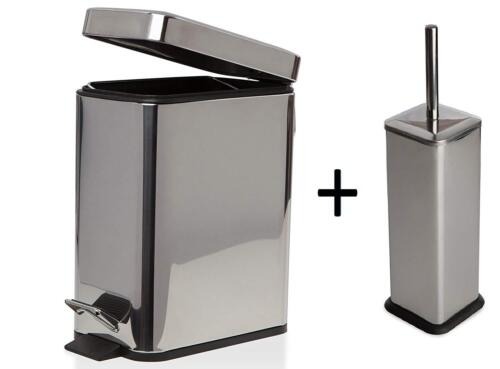 5 L slimbathroom Slim Poubelle à pédale carrée brosse de toilette avec support 4 Couleurs