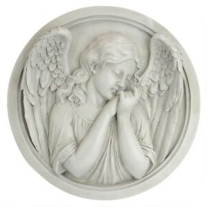 ARCHED WING ANGEL WALL ROUNDEL SCULPTURE Outdoor Garden Patio Porch Art Peace