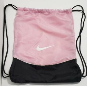 Nike Drawstring Bag Backpack Pink Black White Women Girls Sports Gym ... 85354399a6