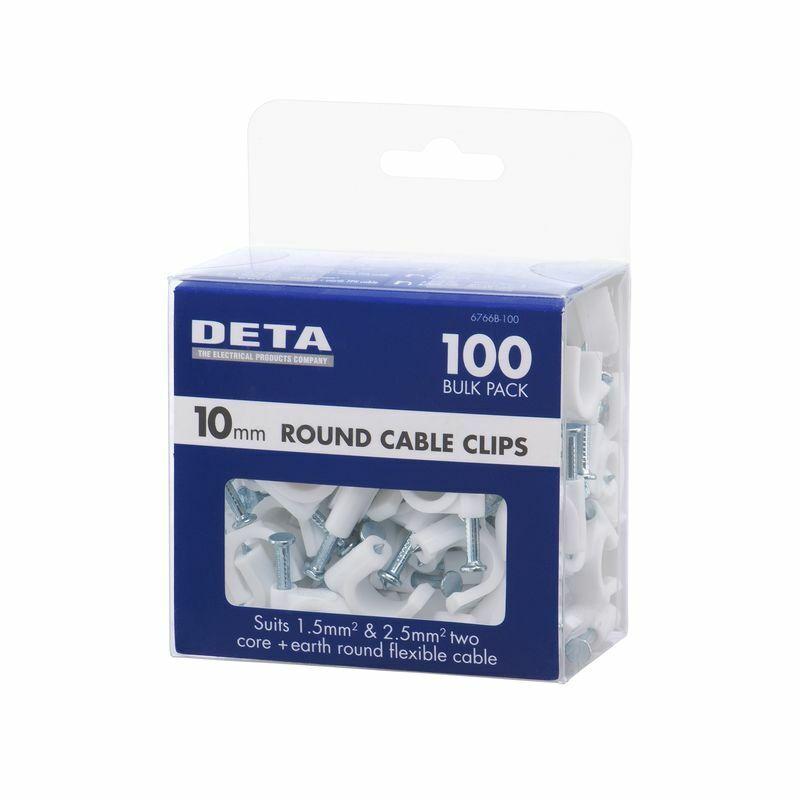 DETA 10mm White Round Cable Clips - 100x5=500pk