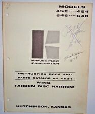 Krause 452 454 646 648 Tandem Disc Harrow Instruction Parts Manual Book