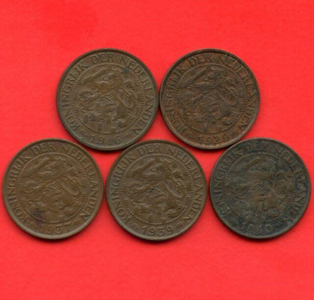 Netherlands 1916 1929 1937 1939 & 1940 1 Cent Coins