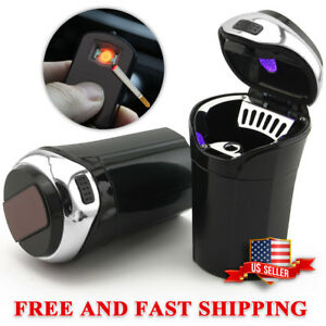 Car Ashtray Detachable Stainless Blue Led Light Removable Lighter Cup Holder