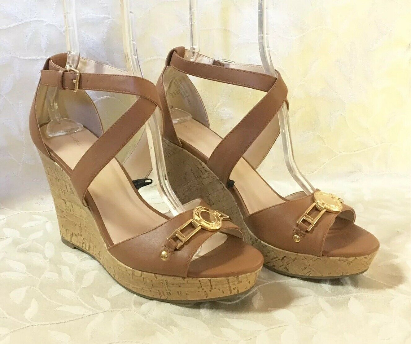 Marc Fisher Womens Heels Size 10 Brown Wedge Sandals Cork gold Buckle