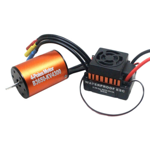 Waterproof 3650 4300KV Brushless Motor w// 60A ESC Combo Set für 1//10 RC Car W9M5