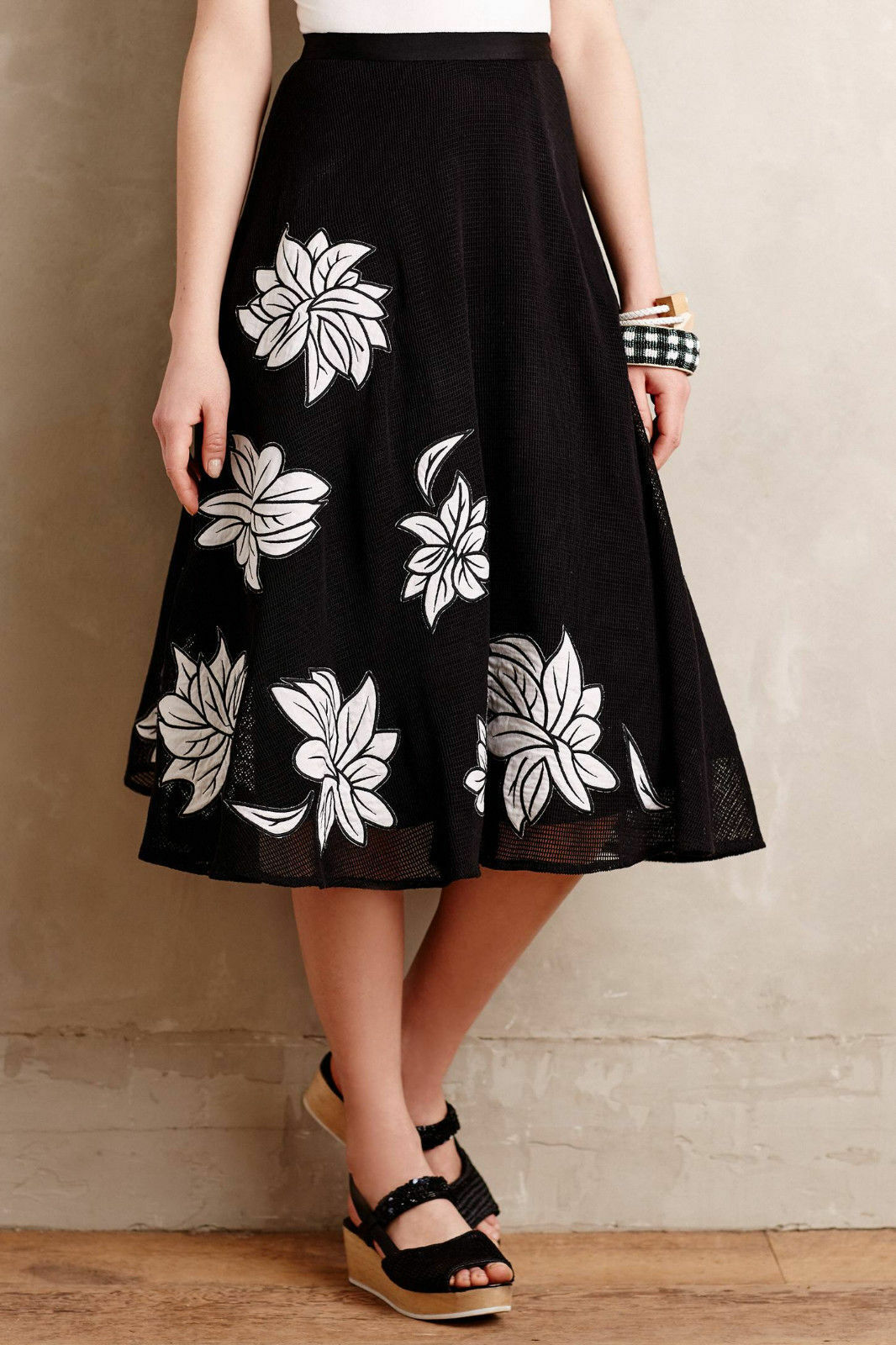 Anthropologie Skirt Contrabloom Petite Floral Full Midi By Tracy Reese 8P Petite