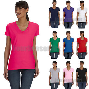 0a23d701 Fruit of the Loom Ladies Heavy Cotton HD V Neck T Shirt Womens Tee S ...