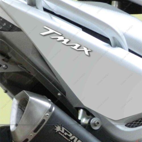 2 ADESIVI MOTO IN RESINA 3D SCRITTA TMAX COMPATIBILE YAMAHA T MAX 500 BIANCO 53