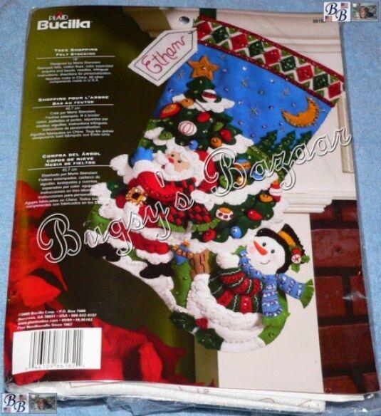 Bucilla TREE SHOPPING Stocking Felt Applique Christmas Kit -Santa,Snowman- 86182