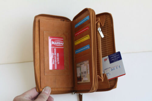 GENUINE LEATHER WOMEN/'S CHECKBOOK WALLET ZIP AROUND  Checkbook Clutch Organizer