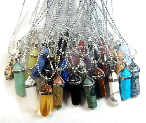 Natural Gemstones Hexagonal Point Healing Silver Plated Chain Necklace Beads
