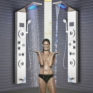 Brushed-Nickel-Shower-Panel-Tower-LED-Rain-Waterfall-W-Massage-Body-System-Spray
