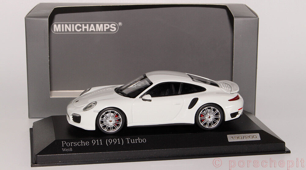 Porsche 911 991 Turbo Weiss le 200 MINICHAMPS 1 43