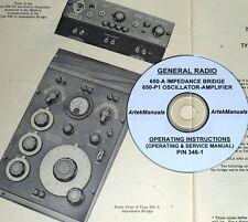 General Radio 650 A Amp 650 P1 Bridge Amp Oscillator Operating Amp Service Manuals