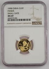 1998 China 10 Yuan 1/10 Troy Oz 999 Gold Panda Coin NGC MS69 Small Date SD @KEY@