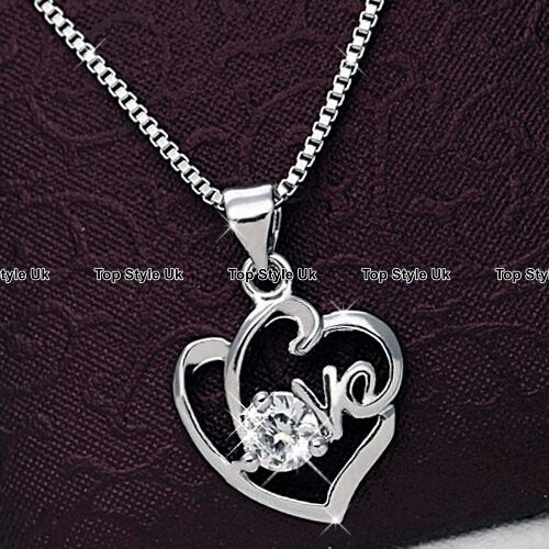 Silver Love Heart Necklace Engraved Solitaire Rhinestone Gifts for Her Women C3