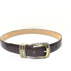 485c864e67f56 Women s Brighton Classics Brown Croc Print Leather Belt Size Medium ...