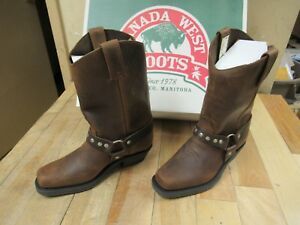 Cbm Canada Brown Crazy Horse Leather Motorcycle Boots Mens