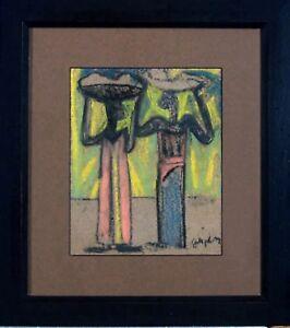 Floris-Jespers-est-1953-watercolor-on-carton-039-Deux-femmes-Africaines-039-signed