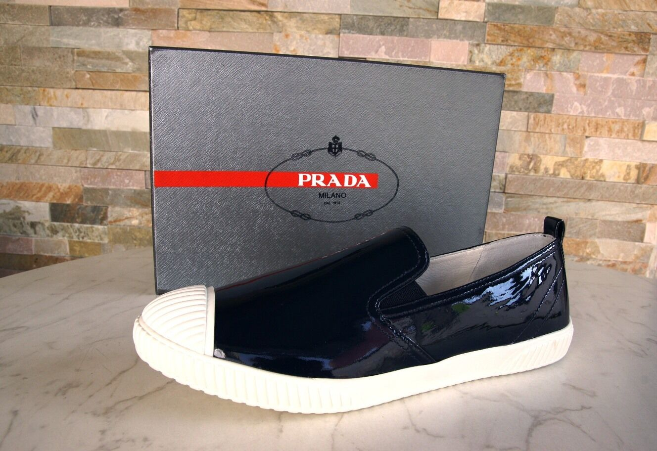 Prada talla 40 Slipper mocasines slip-on zapatos charol zapatos 3s5952 azul ex PVP