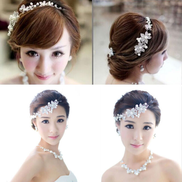 New Lady Silver Rhinestone Bridal Wedding Flower Pearls Headband Hair Clip Comb
