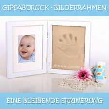 1x Bilderrahmen 38x24 Gipsabdruck Baby Hand Fuss Fotorahmen Baby Abdruck UVP 20€