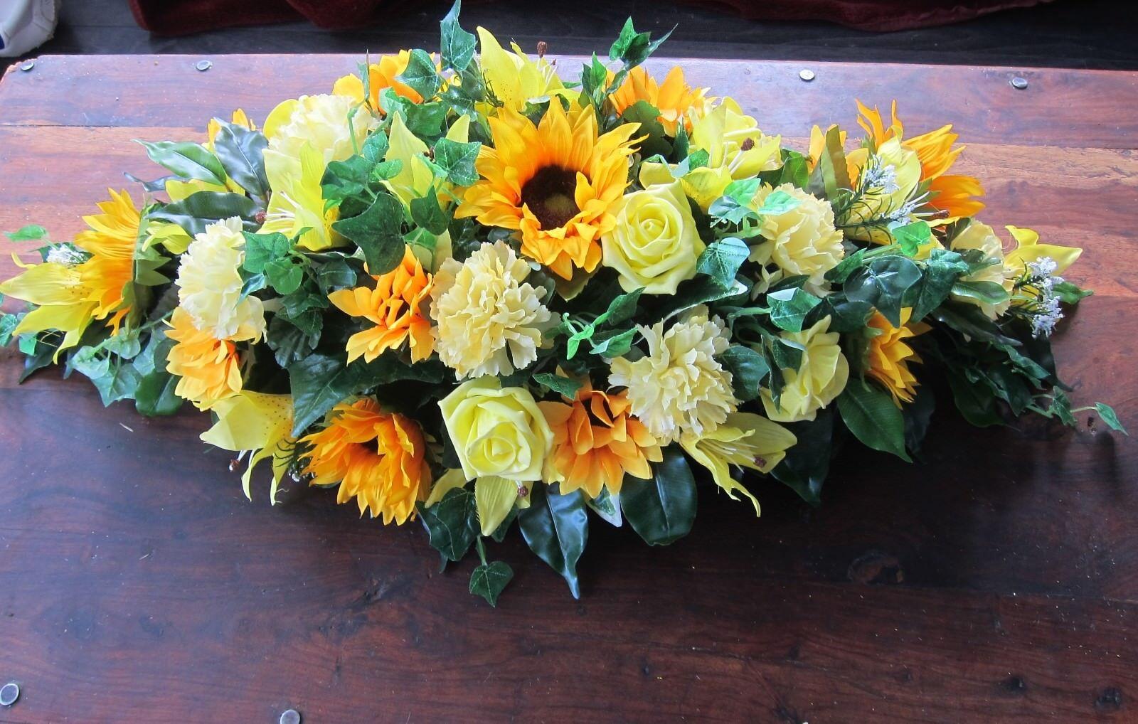 Funeral Casket Coffin Top Oasis Sunflower Arrangement Tribute - Any colour