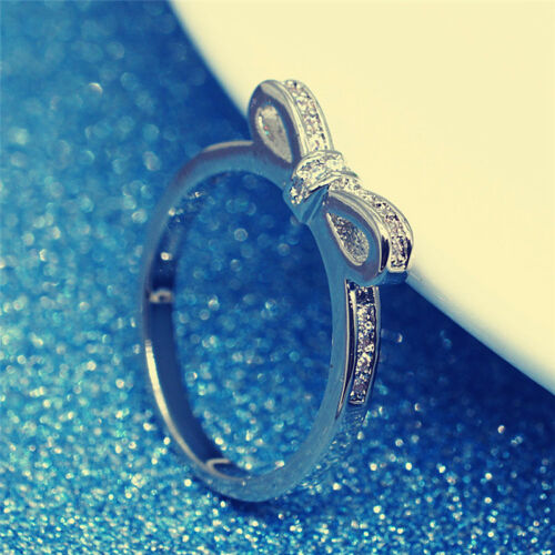 Silver Plated Sparkling Bow Knot Stackable Ring Elegant Women Wedding Jewelry HI
