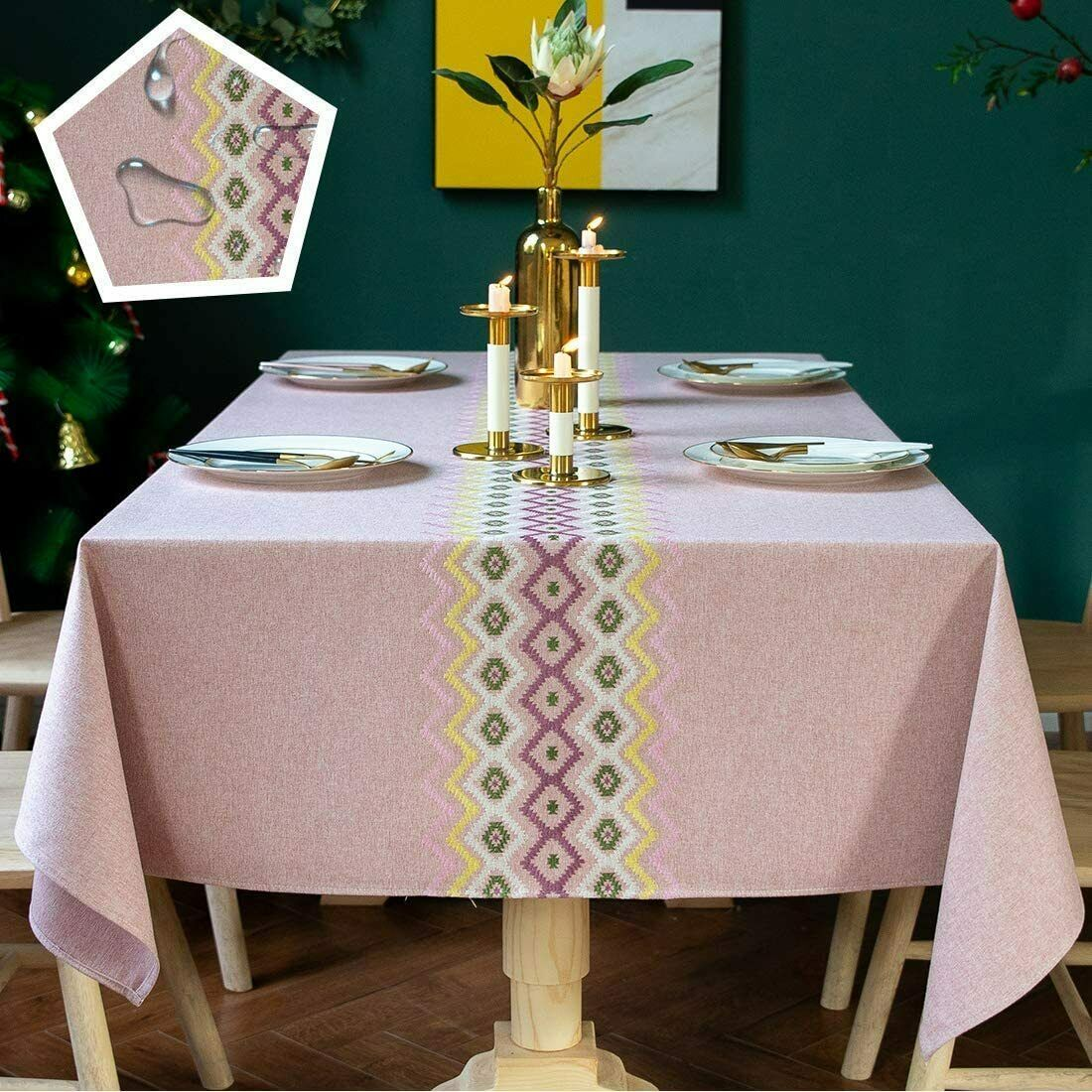 Natural Home Textile Cotton Linen Pure Color Simple Dinner Table Cloth Cover