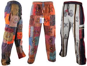 Men-Cotton-Patchwork-Om-Symbol-Elastic-Waist-Loose-Fit-Gypsy-Pants-Boho-Trousers