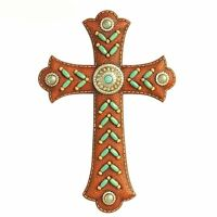 Montana West 12 Wall Cross Spiritual Home Decor Turquoise Indian Beads Brown