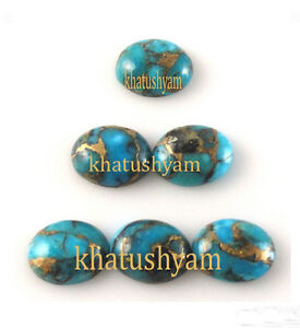 AAA-Quality-15-PC-Blue-Copper-Turquoise-15X20-MM-Oval-Loose-Cabochon-Gemstone