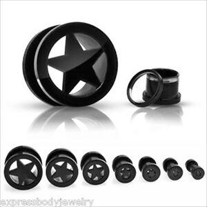 Pair-Black-Titanium-Star-Screw-On-Hollow-Tunnels-Ear-Plugs-Earlets-Gauges