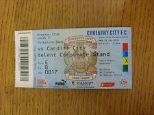 28/01/2009 BIGLIETTO: Coventry City V Cardiff City (SKY creazioni Lounge, piegato).