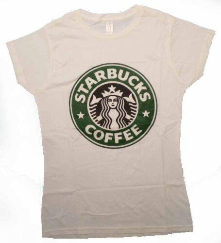 brand new STARBUCKS COFFE t-shirt maglietta donna bianca collo tondo